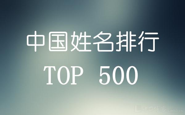 中国姓名排行 TOP 500(来自人口数据库)