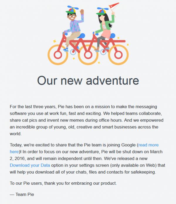 Google宣布收购企业级聊天工具Pie