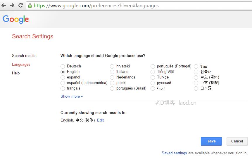 如何访问国际英文版谷歌?Google.com-老D