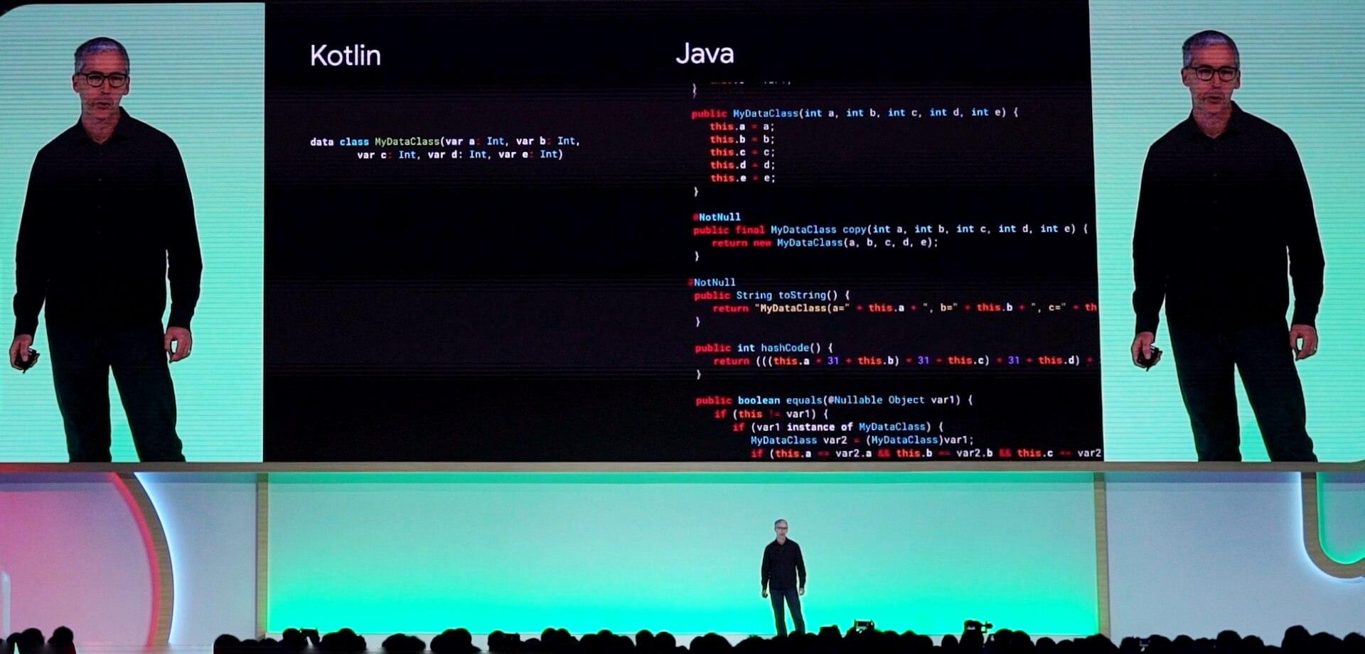 Kotlin语言的代码量比传统的Java少很多 澎湃新闻记者 孙懿赟 图