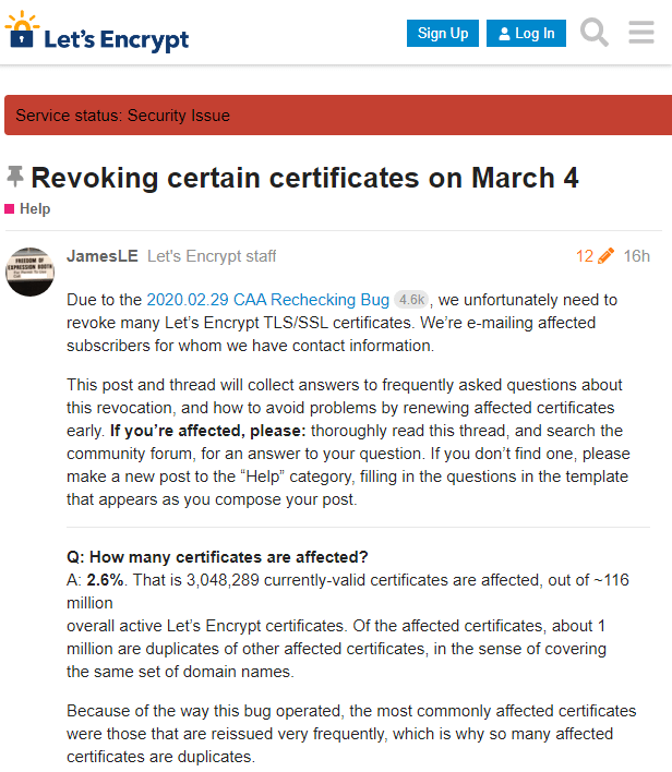 Let's Encrypt将于3月4日撤销三百万证书